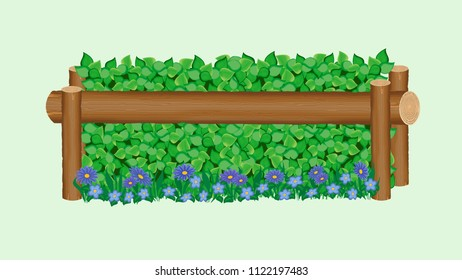 Boxwood brush cross-country jump with single log, and decorative blue flowers along the ground line.