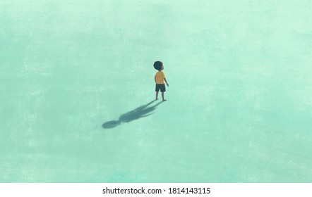 Boy alone in blue , painting illustration, surreal art, lonely solitude and hope concept, artwork, child dream