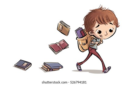 Boy with backpack full of books