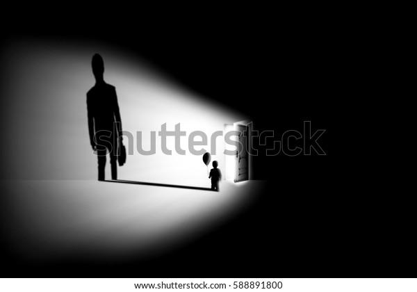 boy , balloon , shadow , business man , background