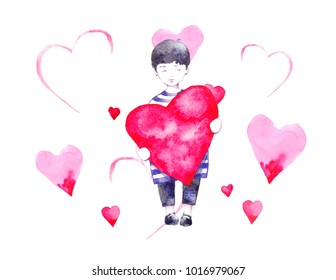Boy with big heart in his hands. Illustration with boy. Silhouette of boy in watercolor style on colorful background.