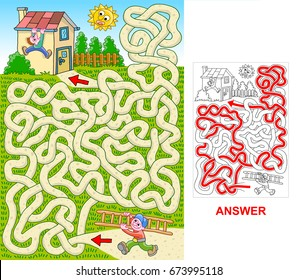 A boy carries a ladder for a friend, who hangs from the roof. Help him to find a correct path. Labyrinth for kids.