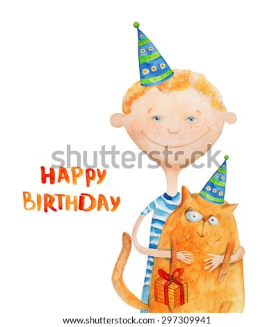 Boy With Cat In Party Hats Happy Birthday Watercolor Illustration Hand Drawing