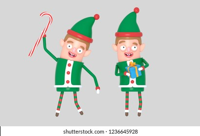Boy cute elf santa christmas holding gift. 3d illustration.