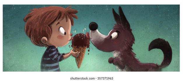 boy and dog eating ice cream