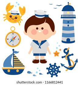 Boy dressed in nautical sailor outfit and nautical illustration set.