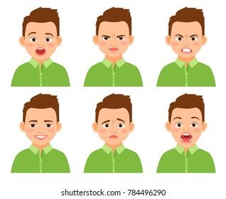 Boy face expression set. Amazed and sad, funny and hurt cartoon kid isolated on white background