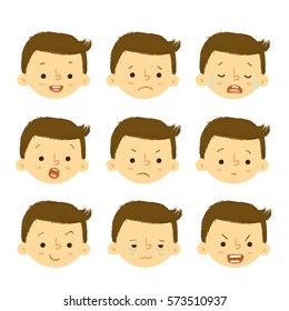 Boy Faces Feelings Set Illustrations