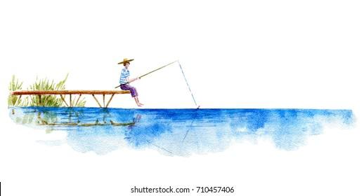 Boy fishing.Lake and pier. Watercolor hand drawn illustration.Summer vacation image