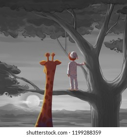 Boy and Giraffe. Meet Someone in the Travel Series. Video Game's Digital CG Artwork, Concept Illustration, Realistic Cartoon Style Character Design