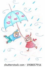 Garçon et fille s'amusant et appréciant l'illustration du temps pluvieux et venteux