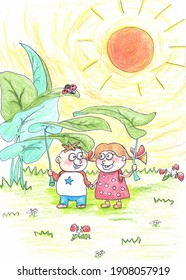 Boy and girl having fun and enjoying sunny weather illustration