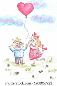 Garçon et fille s'amusant et appréciant l'illustration du temps nuageux