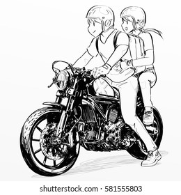 couple boy girl riding motorcycle stock illustration royalty free Cafe Racer Boots boy and girl riding classic motorcycle