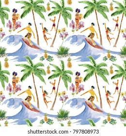 boy and girl. surfing. seamless watercolor background. Tropical seamless background. Flowers and fruits.