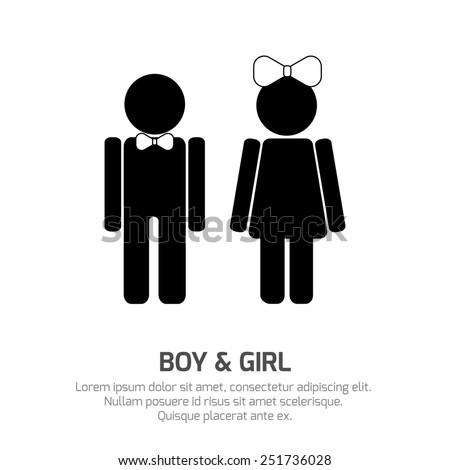Boy Girl Symbols Signs Specifying Gender Stock Illustration