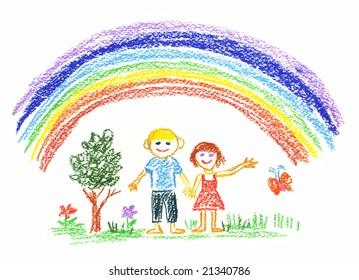 boy and girl under the rainbow