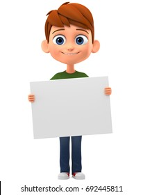 Boy holding a blank card. 3d render illustration.