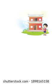 a boy and a house cartoon image illustration