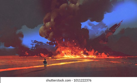 boy looking at crashed spaceship with explosion, digital art style, illustration painting