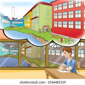 The boy is looking out the window. Factory that pollutes both air and lake waste outside. Imagine a factory that is compatible with nature. A greener factory where the waste is recycled.