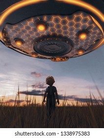 Boy looking at an UFO saucer,3d rendering