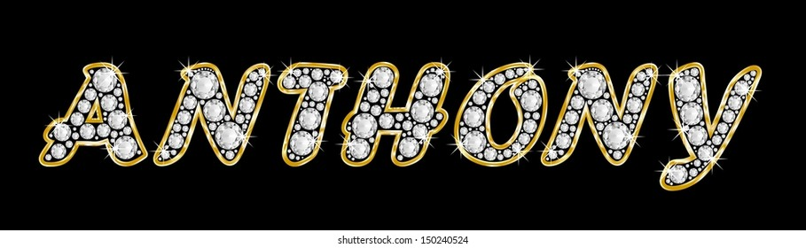 The boy, male name ANTHONY made of a shiny diamonds style font, brilliant gem stone letters building the word, isolated on black background.