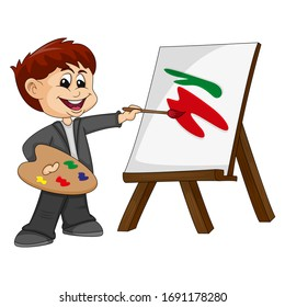 a boy is painting - artist - cartoon image illustration