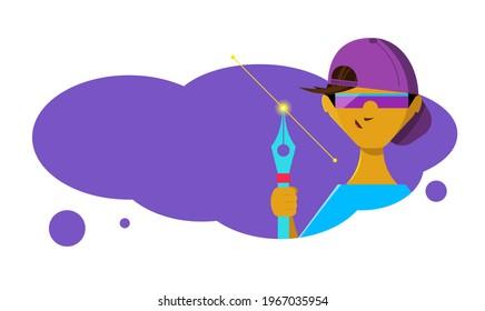 Niño con una pluma en la mano. Ilustración en estilo de caricatura