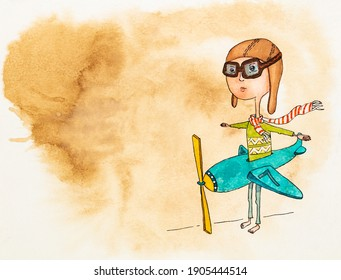 Boy in plane wearing pilot hat and goggles, cute child standing with blue fake airplane suit on his waist, kid playing pretend game, hand painted watercolor with texture on coffee stained paper