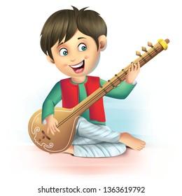 boy playing sitar illustration