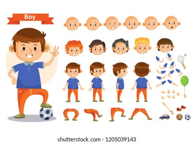 Boy playing sport and toys cartoon character constructor isolated icons of body parts, hair and emotions or uniform garments and playthings. Construction set of young boy child playing soccer
