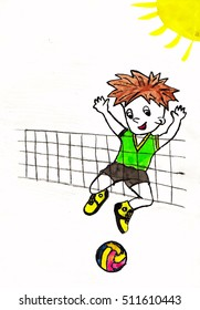 Boy plays in volleybal
