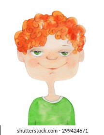Boy Portrait with red curly hair. Watercolor illustration. Hand drawing