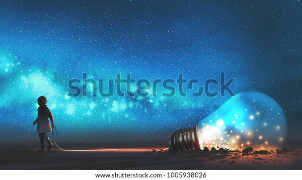 boy pulled the big bulb half buried in the ground against night sky with stars and space dust, digital art style, illustration painting