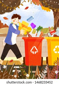Boy putting garbage, waste into recycle bins. Environmental protection