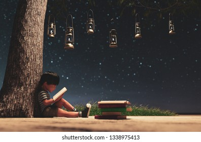 The boy reading a book in starry night using the light from vintage lantern conceptual background,3d rendering