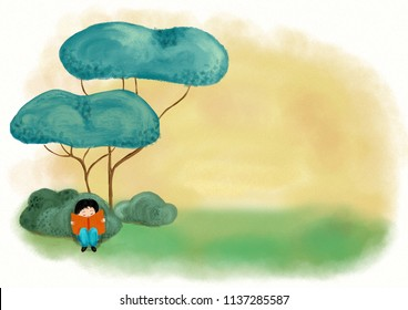 A boy reading in green woodland and imagining fantastic story and dream - Digital painting illustration for concept to love books with copy space