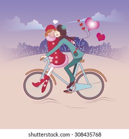 boy rides a Bicycle down the street and lucky girl