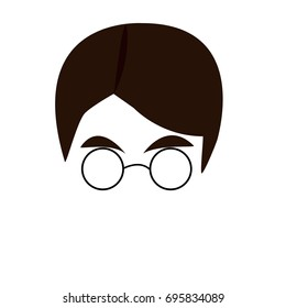 Boy with rounded glasses and brown hair