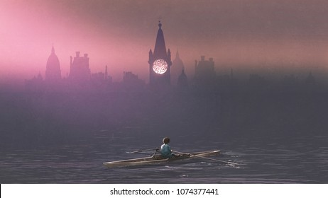 Boy rowing a boat in the sea and mist with ancient castles in background, digital art style, illustration painting