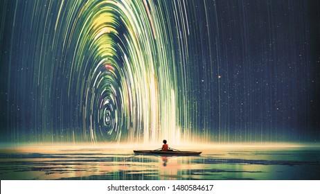 Junge, der ein Boot im Meer der Sternennacht mit mysteriösem Licht ruderte, digitale Kunststil, Illustrationsmalerei