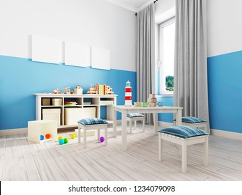 Boy s bedroom interior with a white wall, like bed, cabinet, framed poster and toys. 3d rendering
