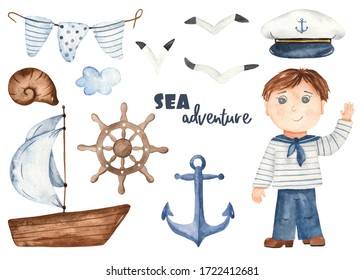 Boy sailor, boat, captain's hat, anchor, helm, seagulls. Watercolor hand drawn set Clipart
