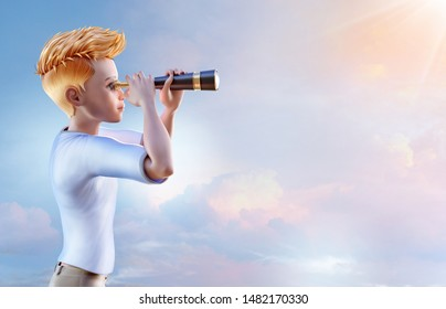 Boy school age teenager explorer looking through vintage spyglass telescope over romantic sunset sky background. 3D boy cartoon character, adventure, curiosity, exploration, dreams concept, copy space