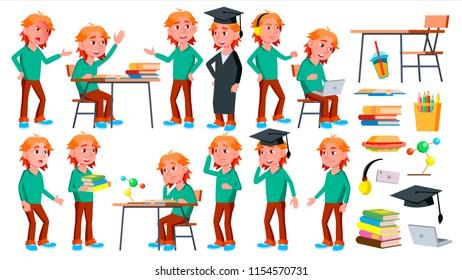 Boy Schoolboy Kid Poses Set. High School Child. Schoolchild. Funny, Friendship, Happiness Enjoyment. For Web, Poster, Booklet Design. Isolated Cartoon Illustration