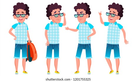 Boy Schoolboy Kid Poses Set. High School Child. School Student. Expression, Happy Childhood, Positive Person. For Banner, Flyer, Brochure Design. Isolated Illustration
