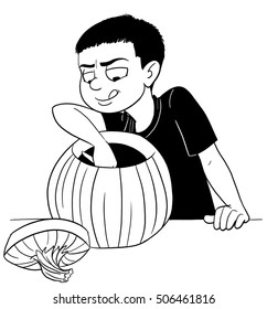 Boy Scooping Out a Pumpkin to make a Jack o'Lantern.