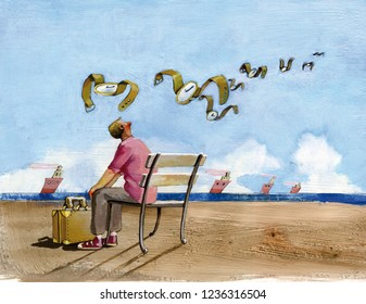 boy seen of shoulders sat on bench in shore to the sea with to the feet a suitcase, looks toward the horizon where they fly away some clocks