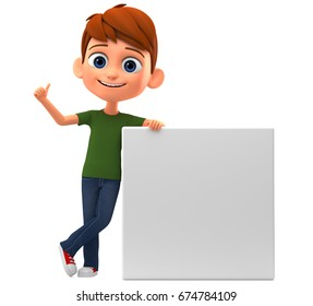 Boy showing thumbs up leaning on blank board. 3d render illustration.